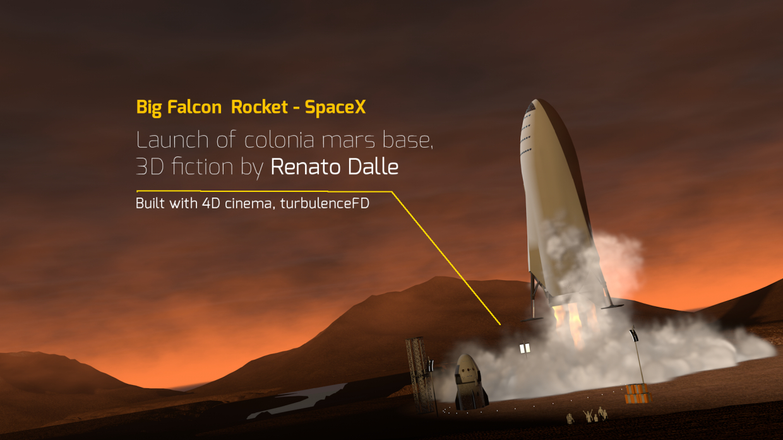 स्पेसएक्स बिग फाल्कन रॉकेट Cinema 4d maxwell render में प्रस्तुत छवि