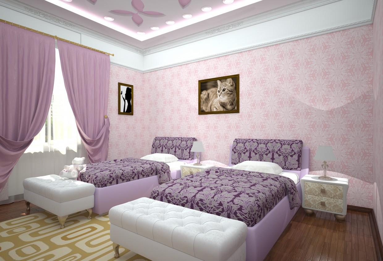 3d визуализация проекта комната для девушек в 3d max, рендер vray от pervin