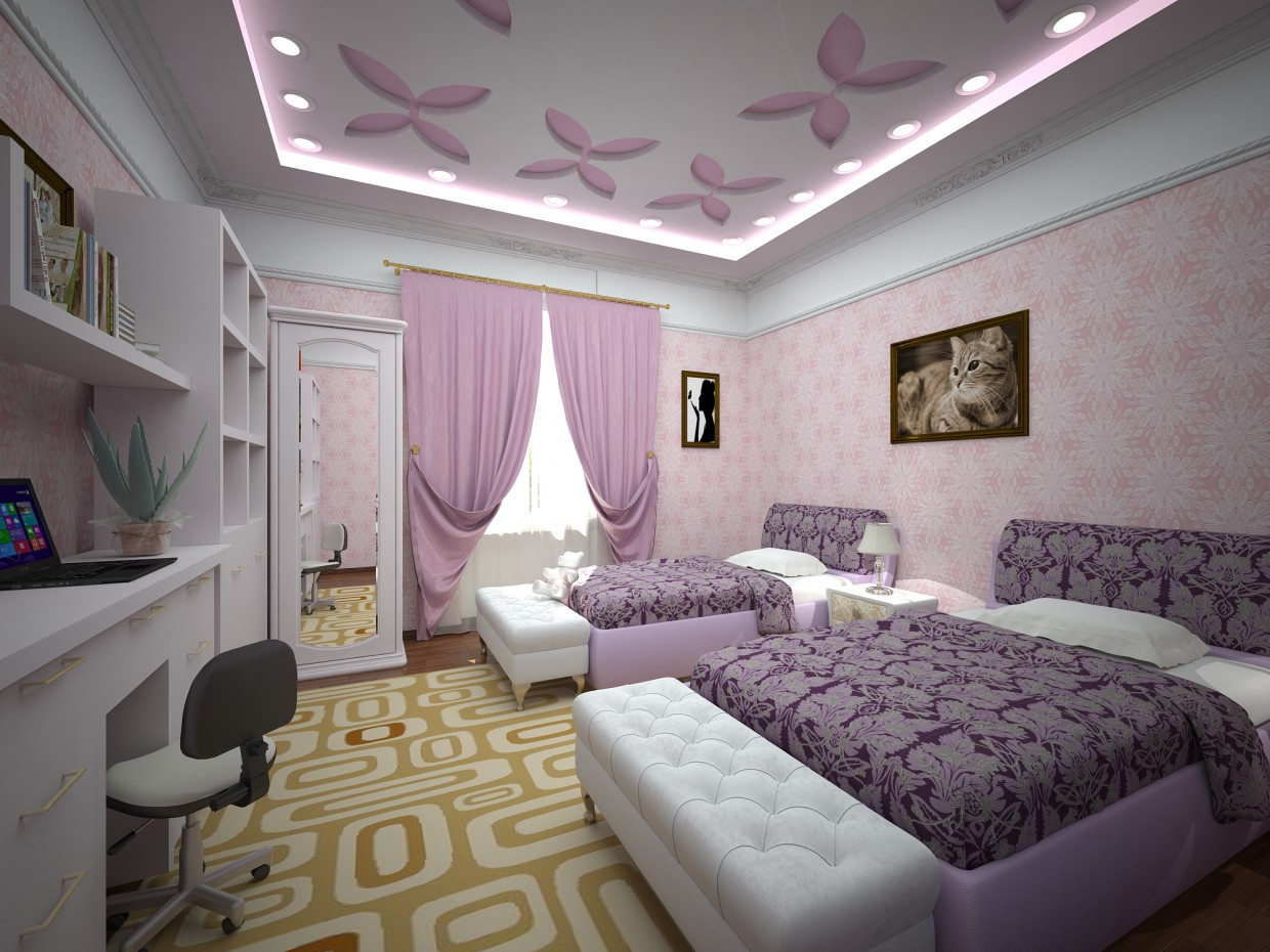 room for girls in 3d max vray image