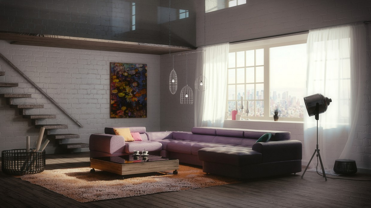 Fragment of a bi-level apartment in Blender cycles render image