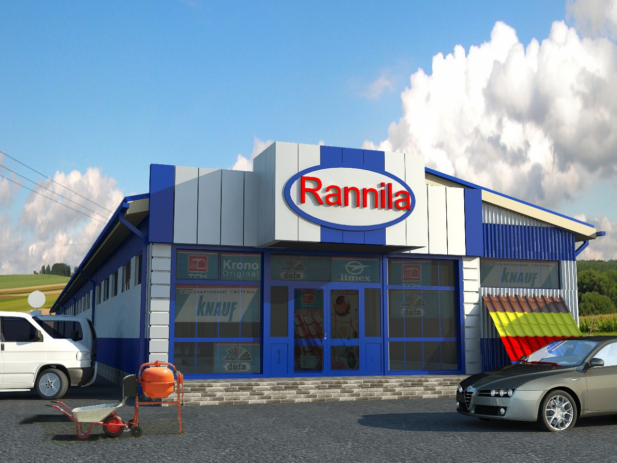 construction materials warehouse and store in 3d max vray image