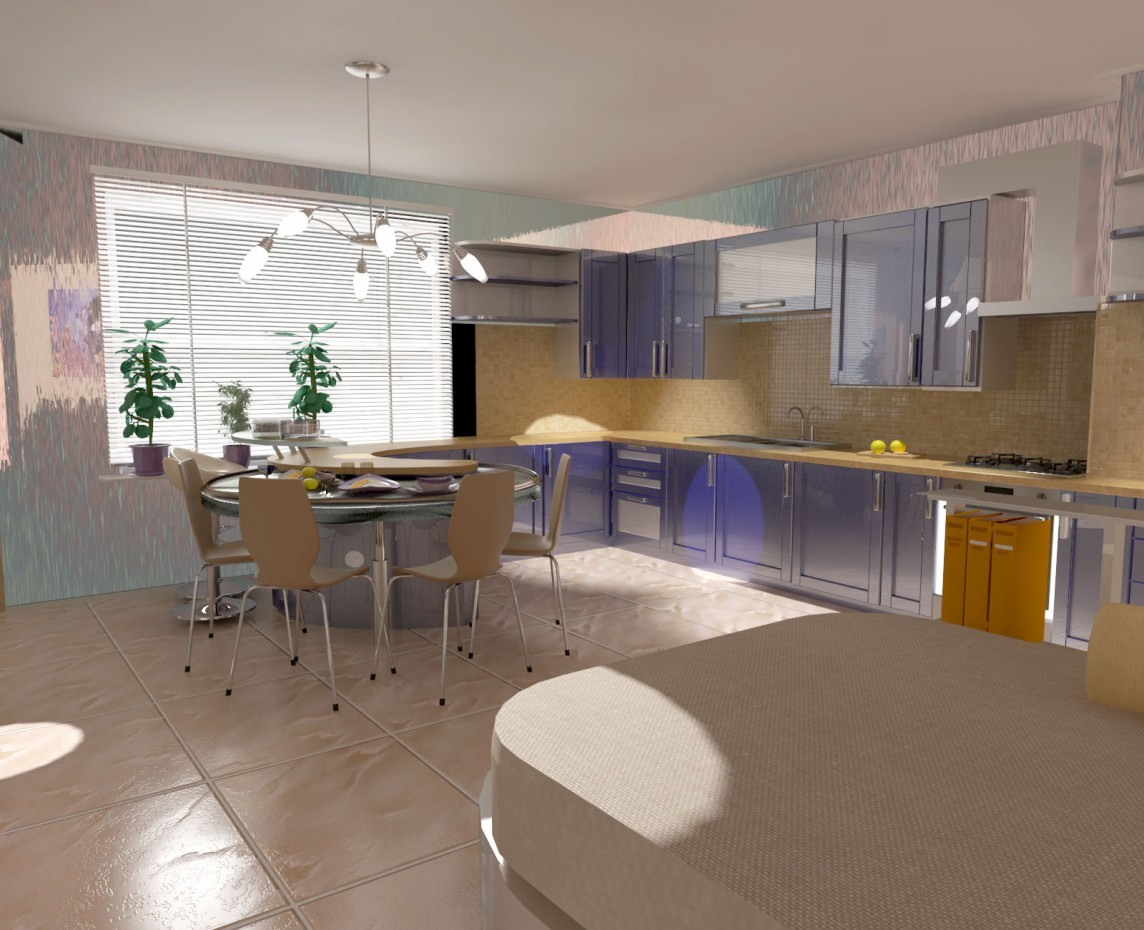 Kitchen-dining room in 3d max vray image