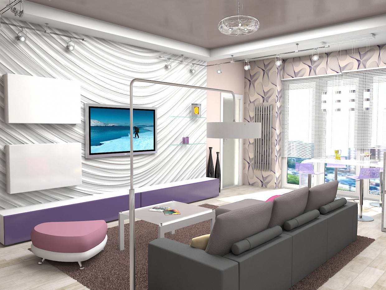 imagen de Salón-cocina en 3d max vray