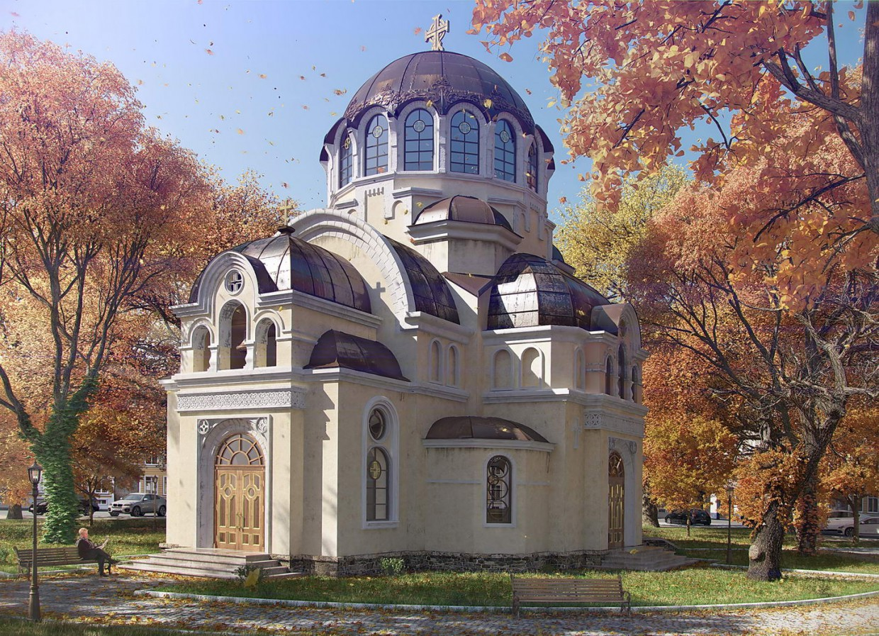 the church in 3d max vray image