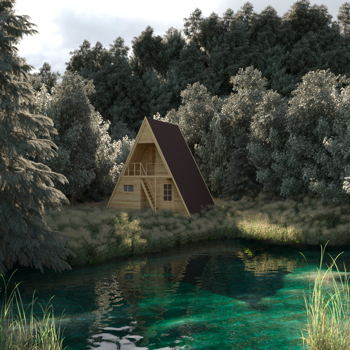 House in a forest in 3d max corona render image