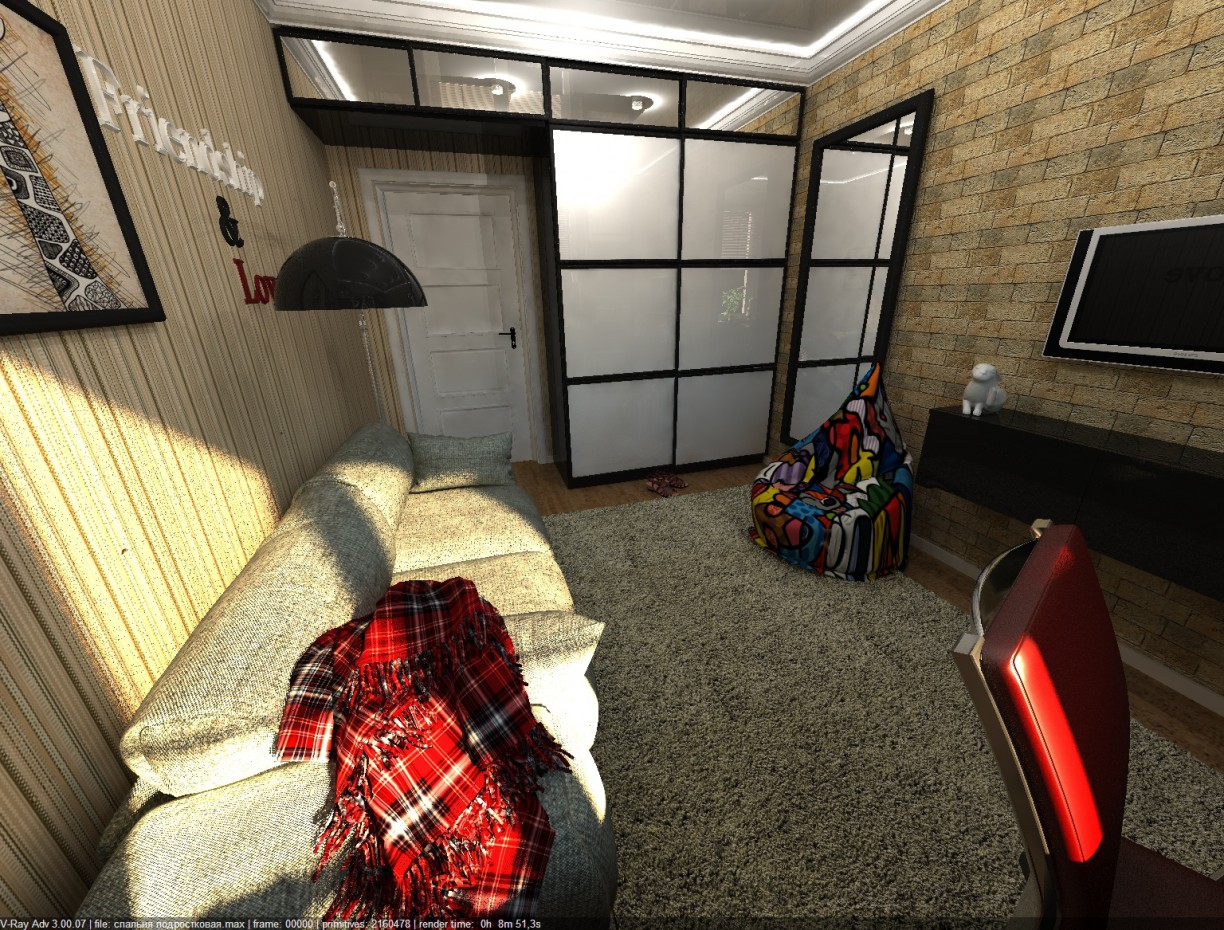Room for teenager in 3d max vray 3.0 image