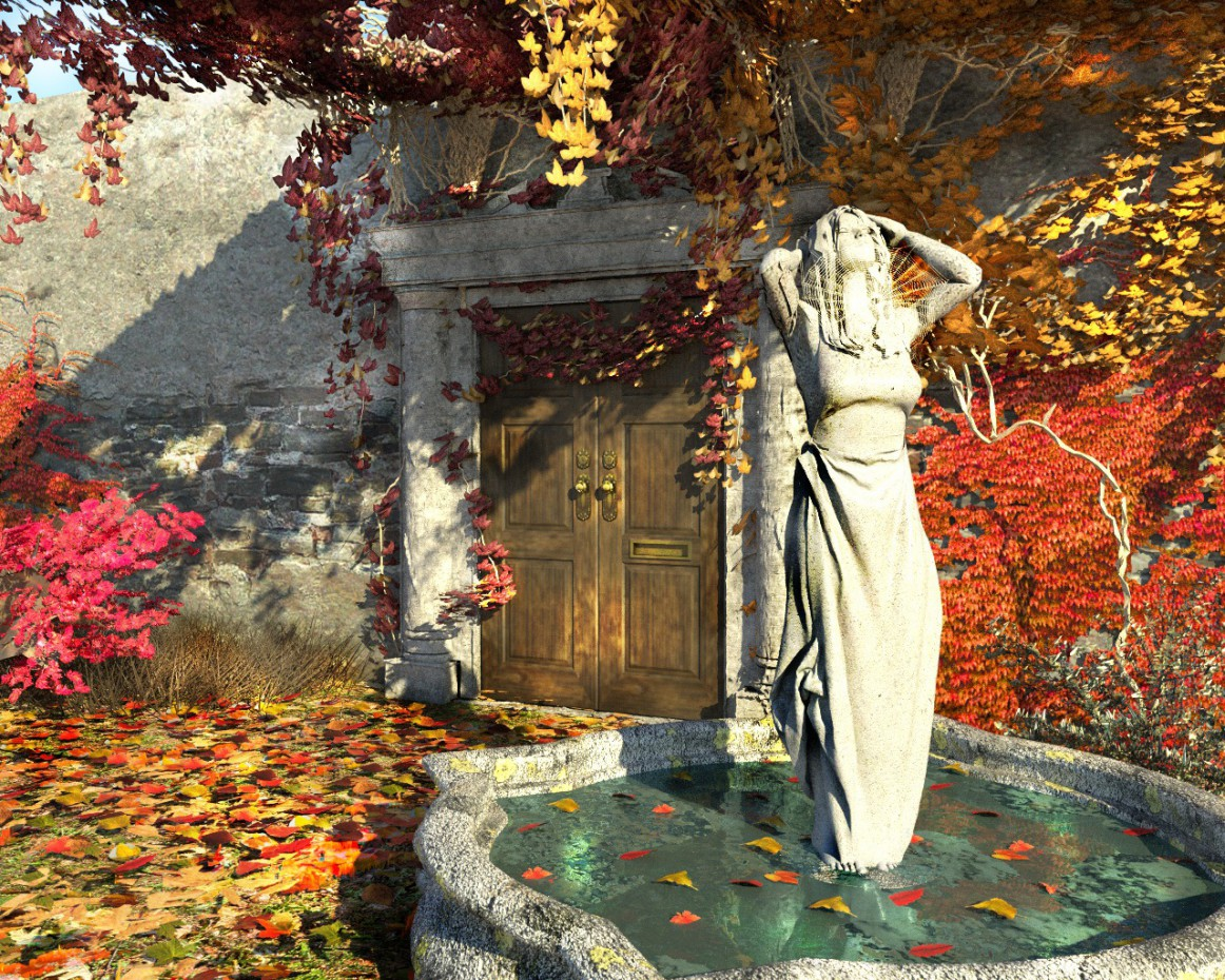 """The door in the fall,"" ""The door leading into the autumn"" in Cinema 4d corona render image"