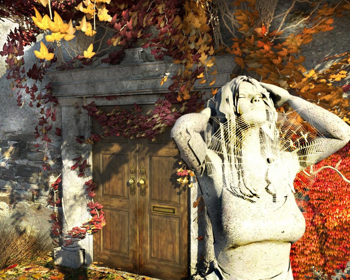 """imagen de """"La puerta en el otoño,"""" """"La puerta que conduce en el otoño"""" en Cinema 4d corona render"""