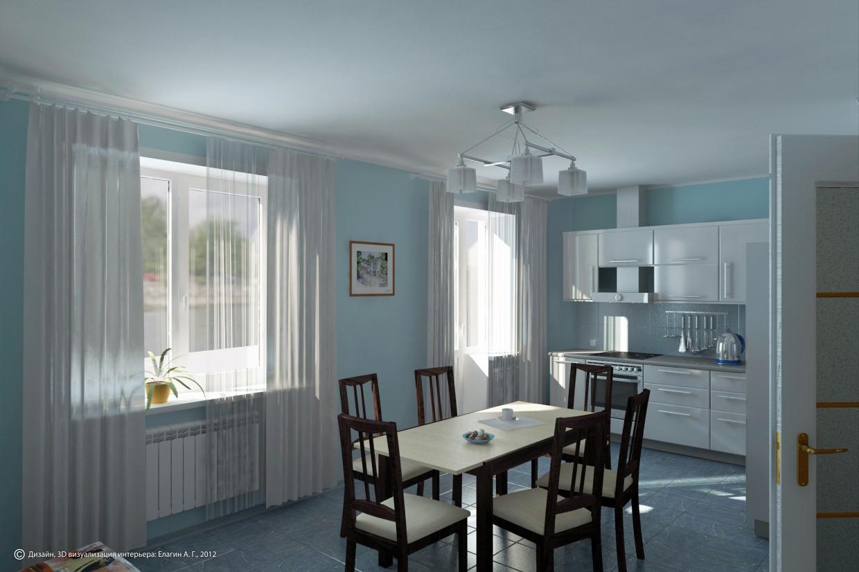 Кухня-столовая в 3d max vray изображение