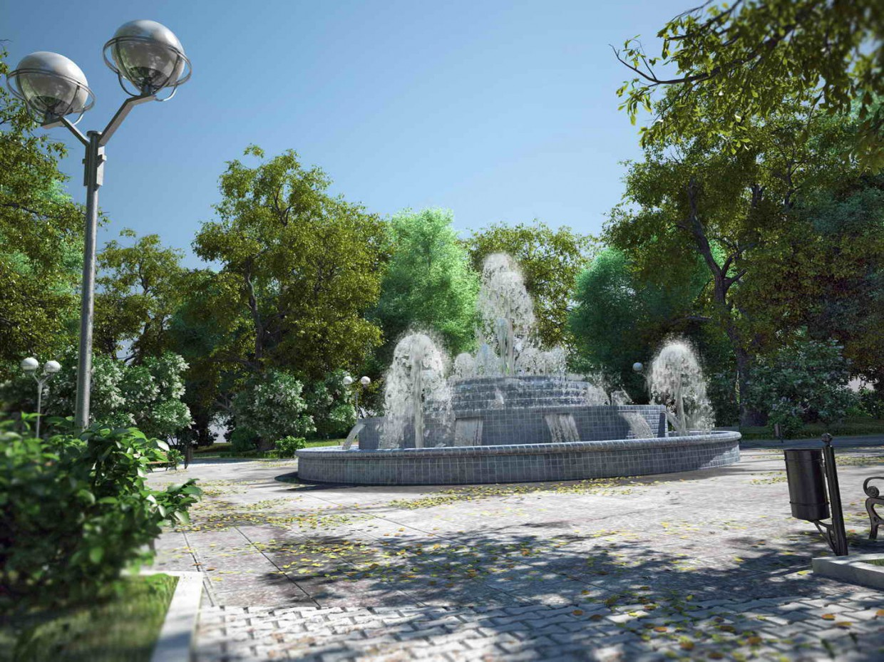 3d visualization of the project in the beautification of a square 3d max, render vray of rekkosta