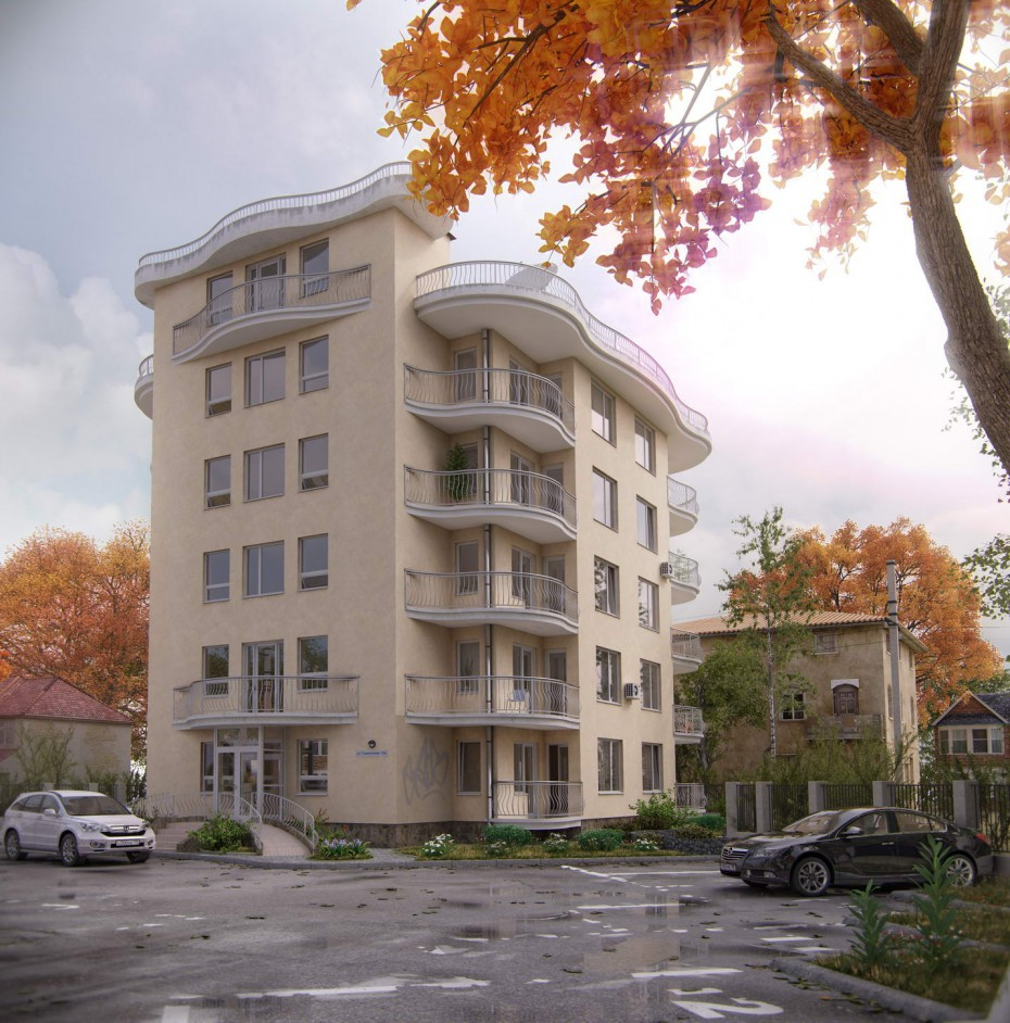 imagen de casa de 5 pisos en 3d max vray