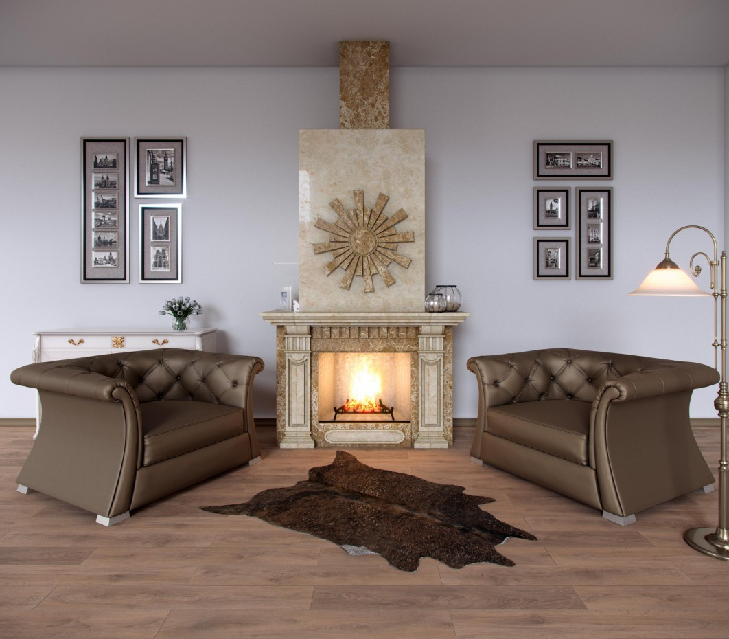 Visualization of the fireplace in 3d max corona render image