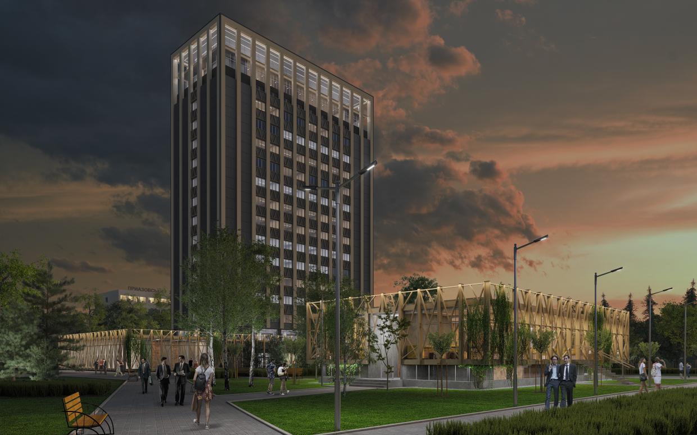इमारतों का पुनर्निर्माण। 3d max corona render में प्रस्तुत छवि