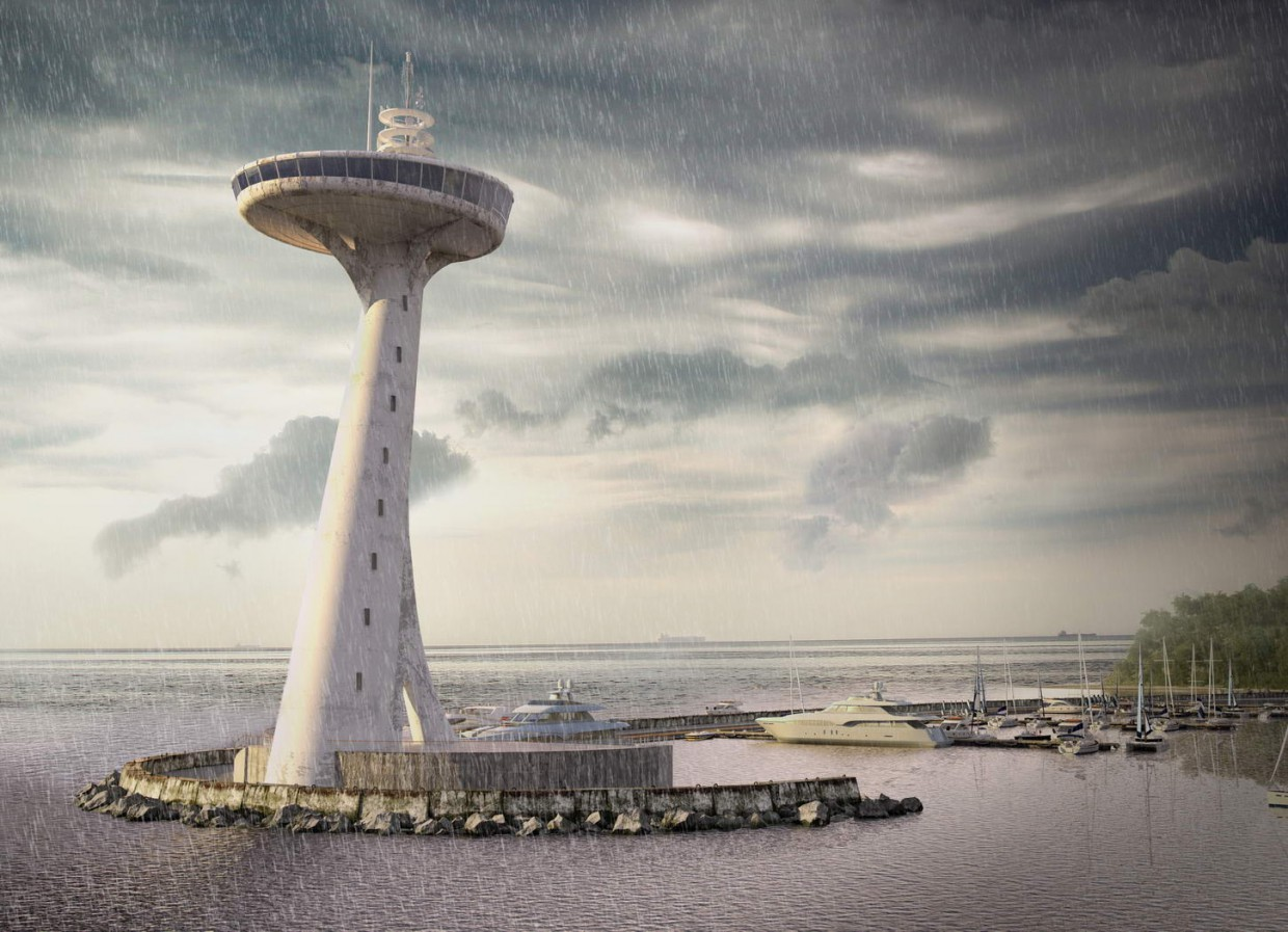 3d visualization of the project in the lighthouse 3d max, render vray of rekkosta