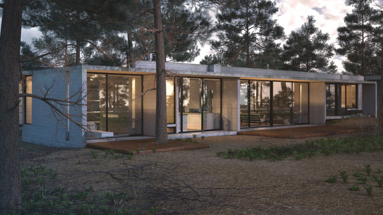 Exterior of a villa in a coniferous forest in 3d max vray image