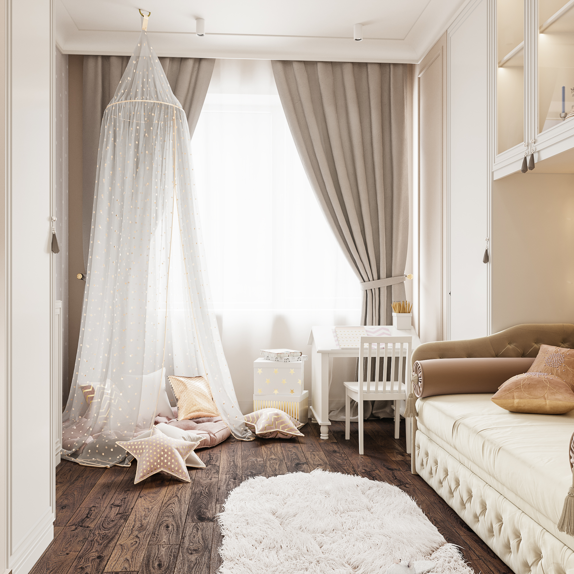 Children's room for a girl in 3d max corona render image