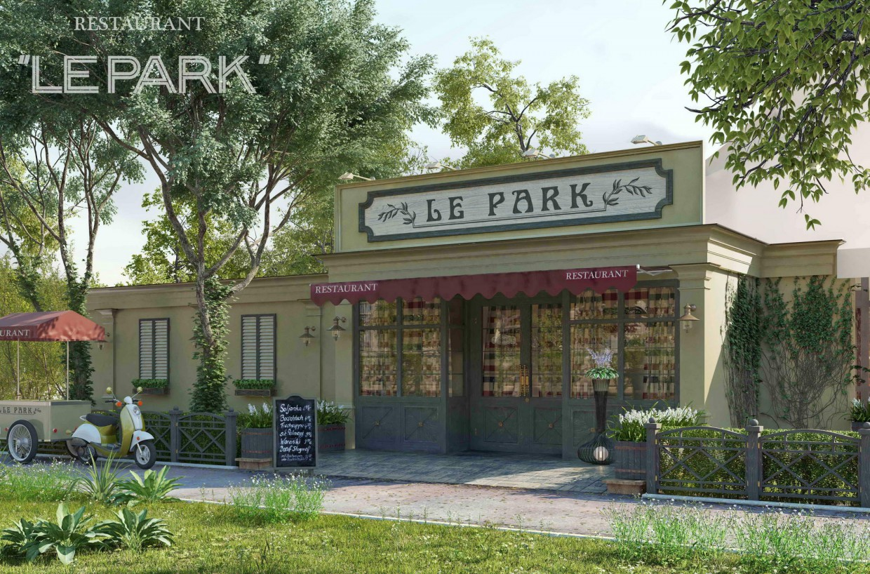 3d visualization of the project in the le park 3d max, render vray of rekkosta