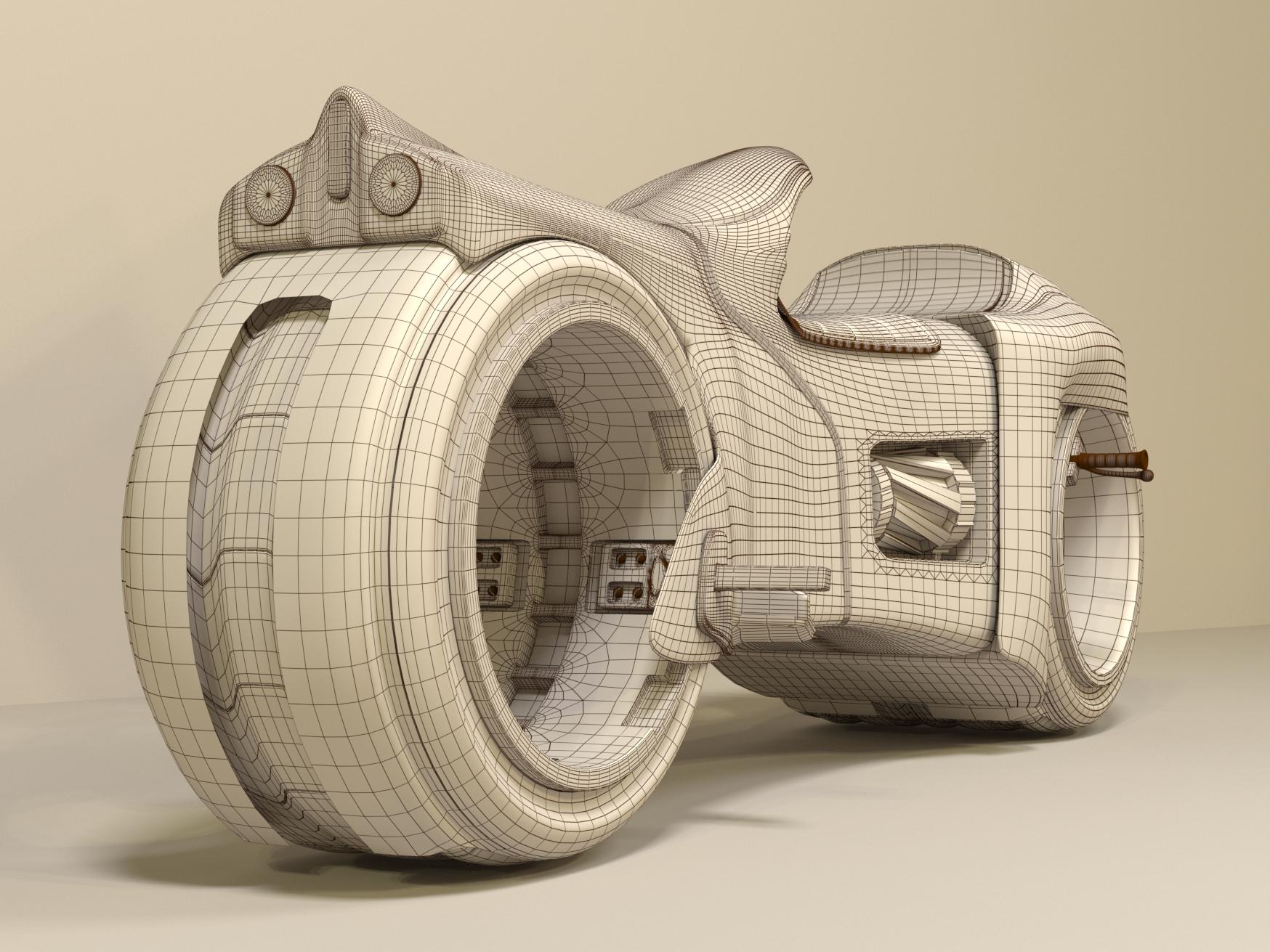 Tron motorcycle in 3d max corona render image