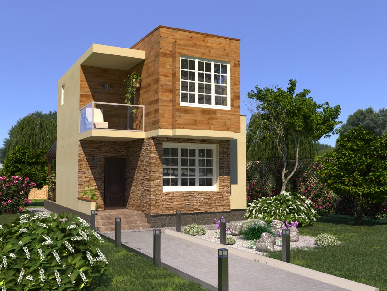 दो मंजिला घर 6,5x7,5 मी 3d max corona render में प्रस्तुत छवि