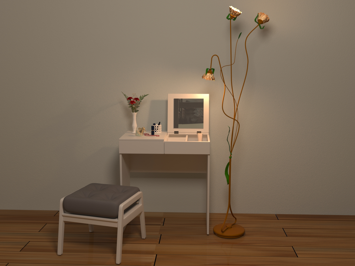 Dressing table and ottoman in 3d max corona render image