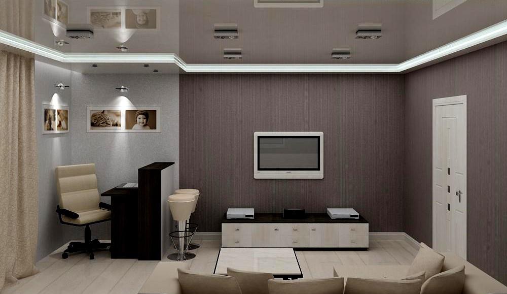Кухня-гостиная для семейной пары в 3d max vray изображение