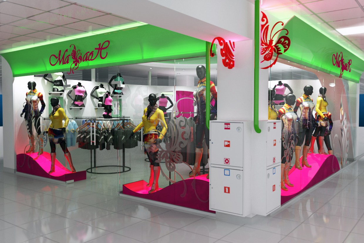 "apparel section ""Swallowtail"" in the shopping center ""Capital"" in 3d max vray image"