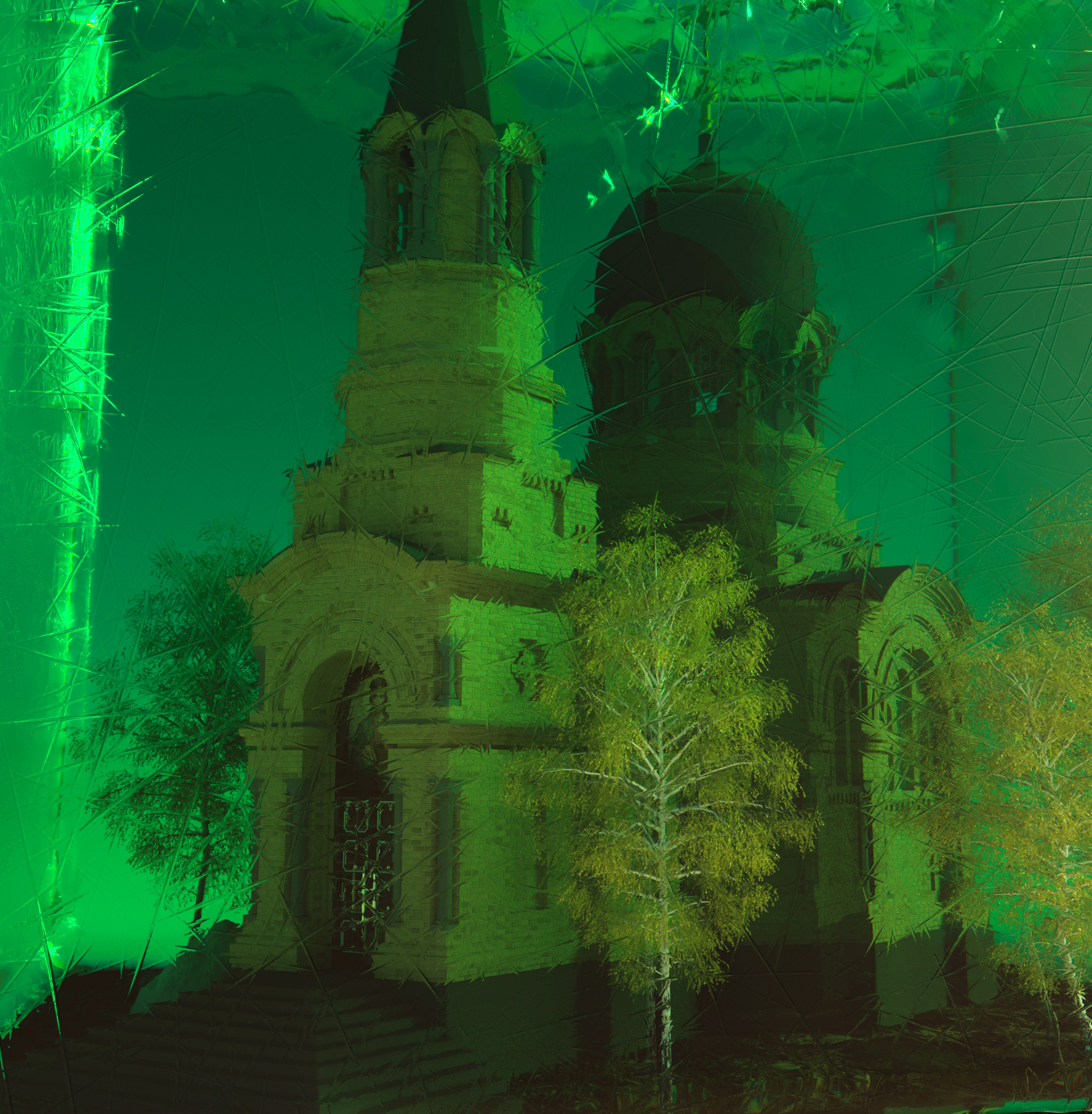 Underwater church in 3d max corona render image