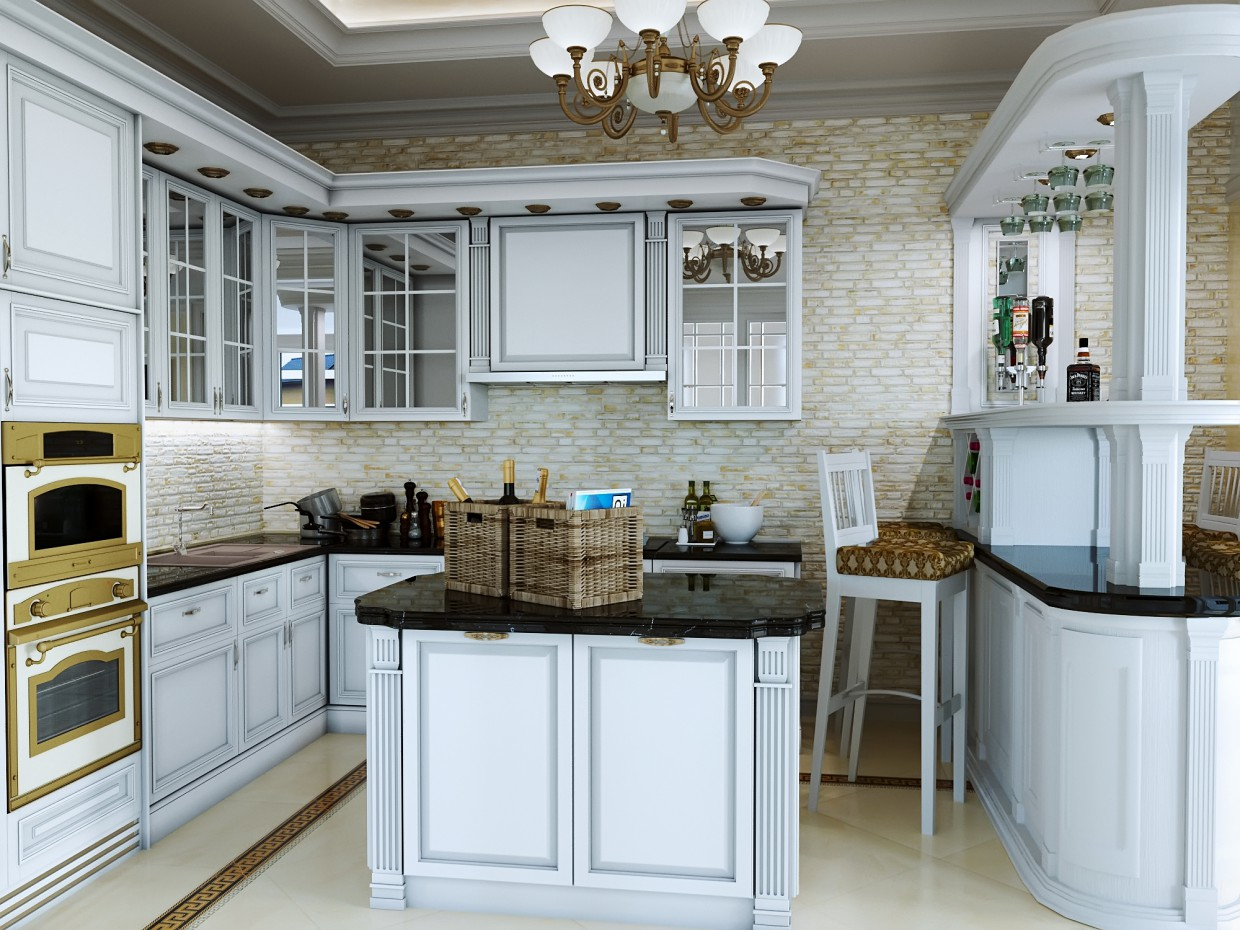 Kitchen in a private home. in 3d max corona render image