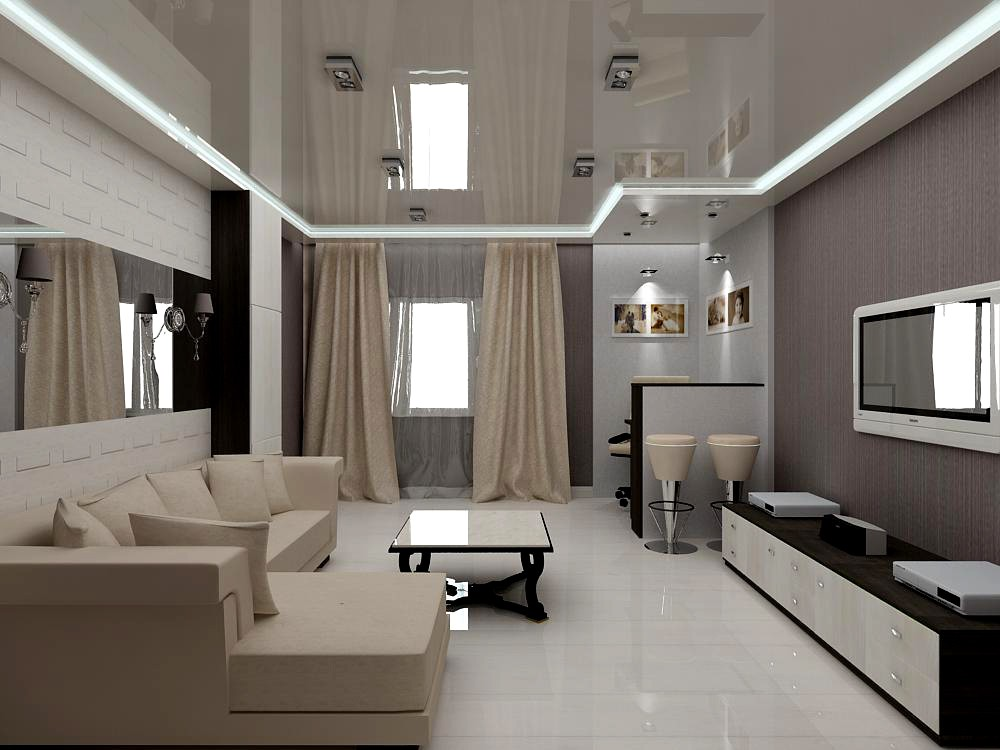 Living room and corner mini office in 3d max vray image