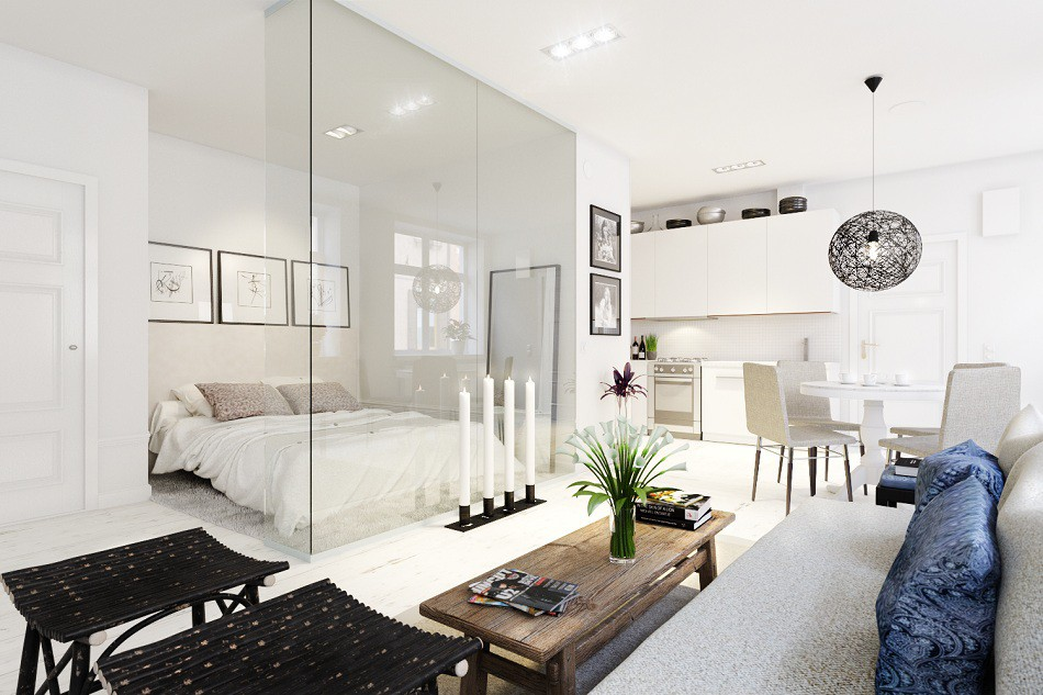 Studio apartment in a Scandinavian style in 3d max corona render image