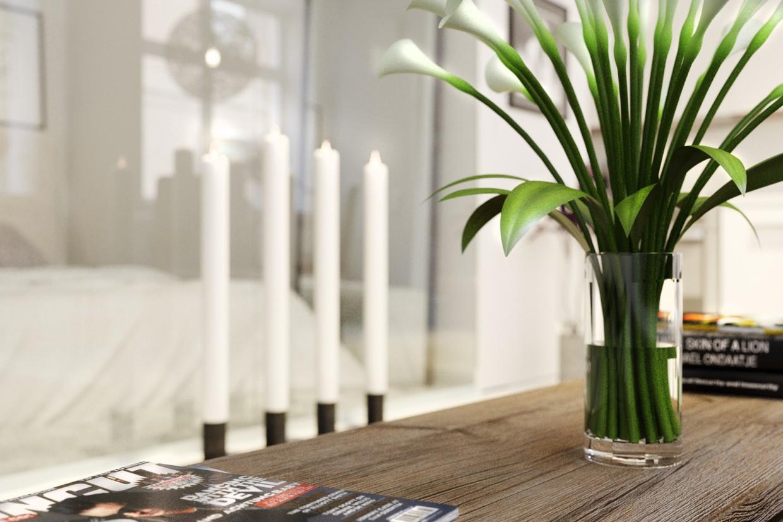 Studio apartment in a Scandinavian style in 3d max corona render image