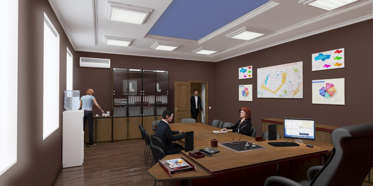 Design project of a water cooler for office in 3d max vray image