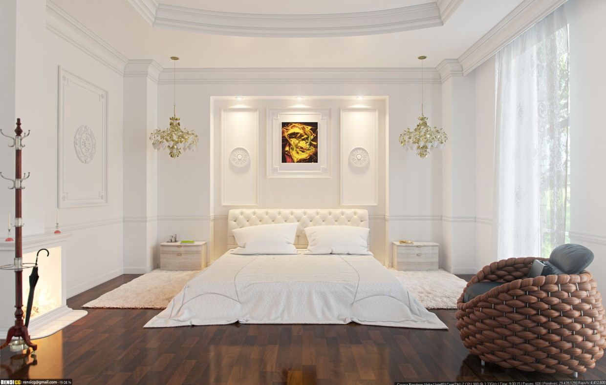 Interior bedroom country house in 3d max corona render image