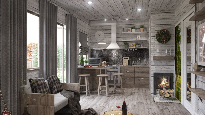 Interior modular house in 3d max corona render image