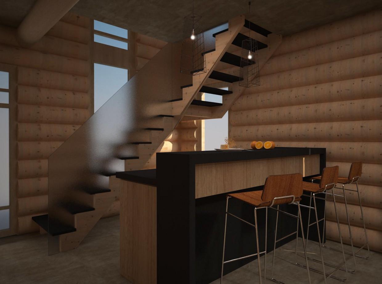 Кухня-вітальня в 3d max vray зображення