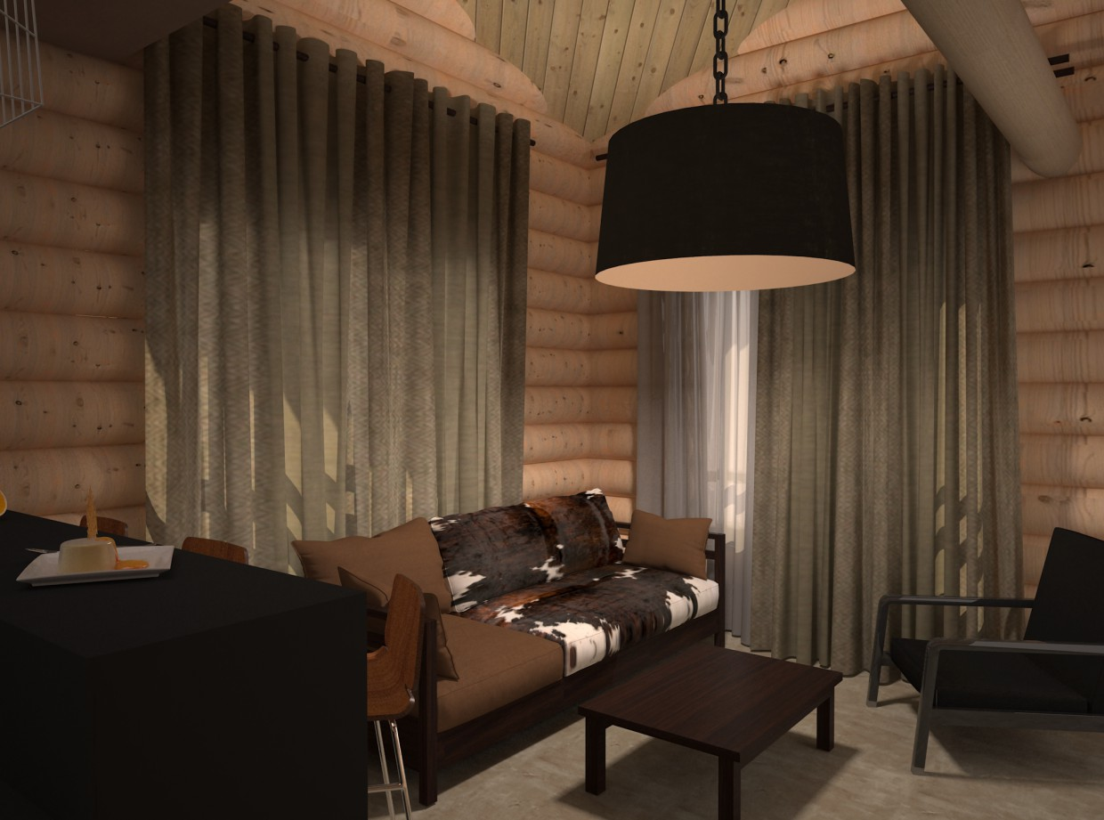 Living room combined with a kitchen in 3d max vray image
