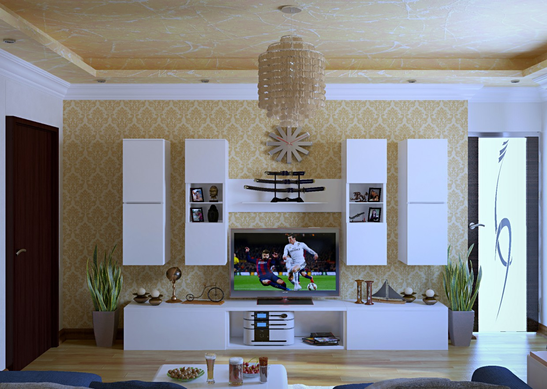 Design of living room design and visualization for Room decor visualizer