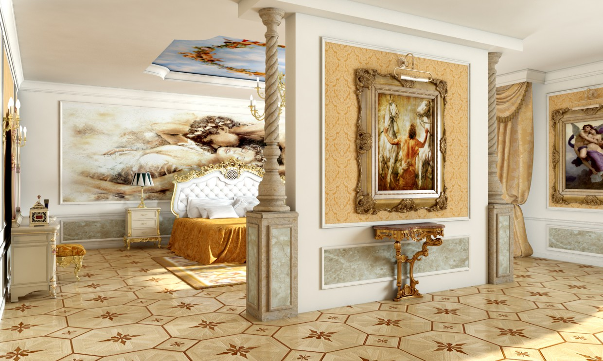 3d visualization of the project in the Bedroom renaissance 3d max, render vray of аскар