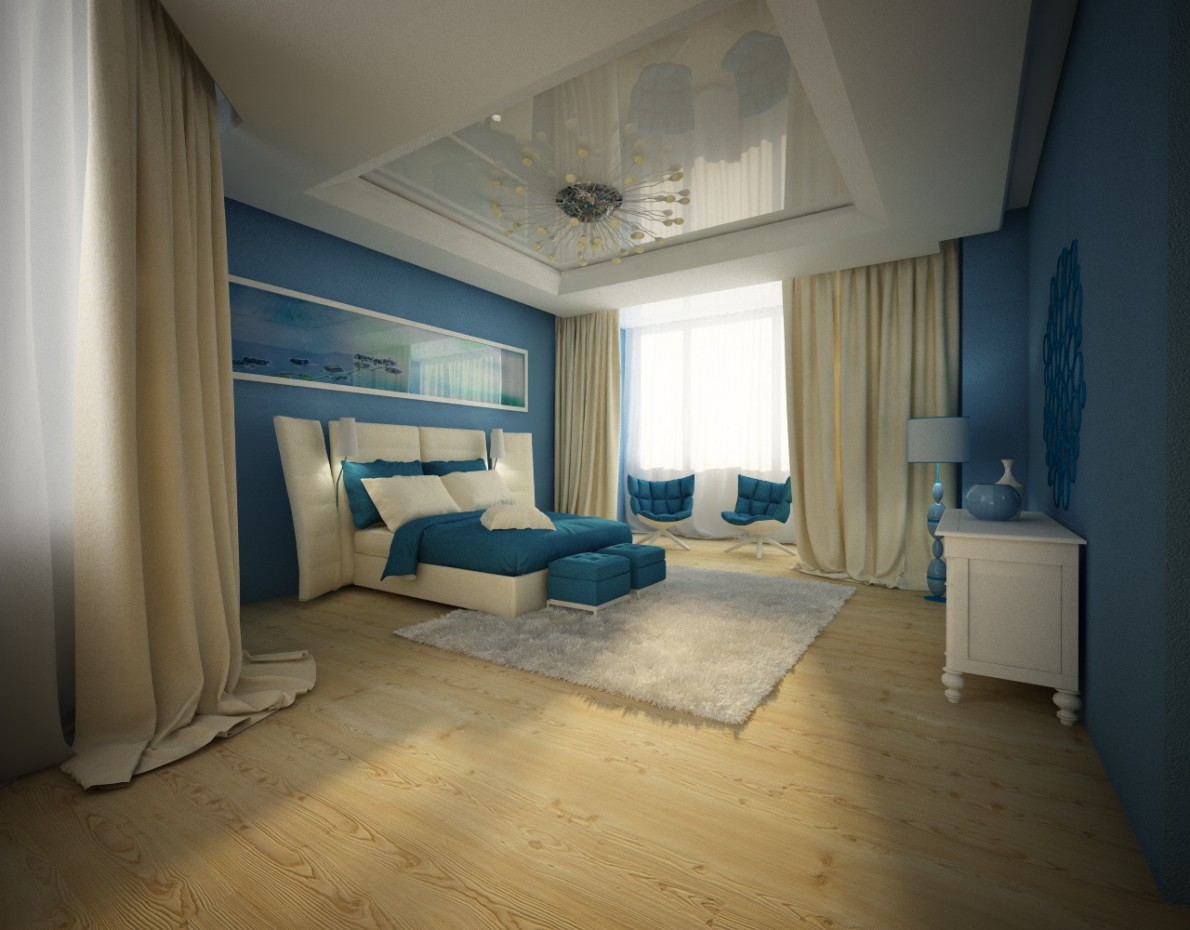3d visualization of the project in the Bedroom Cinema 4d, render vray of VIKOZZZ