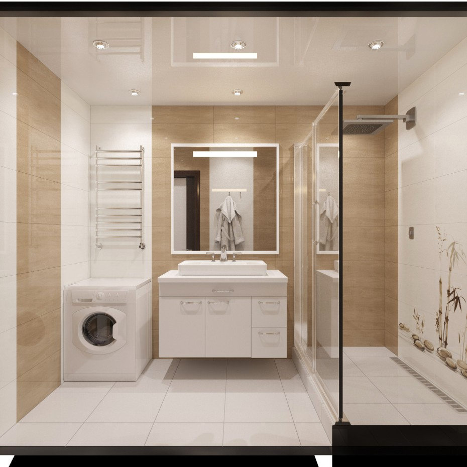 3d visualization of the project in the Bathroom 2 3d max, render corona render of winter