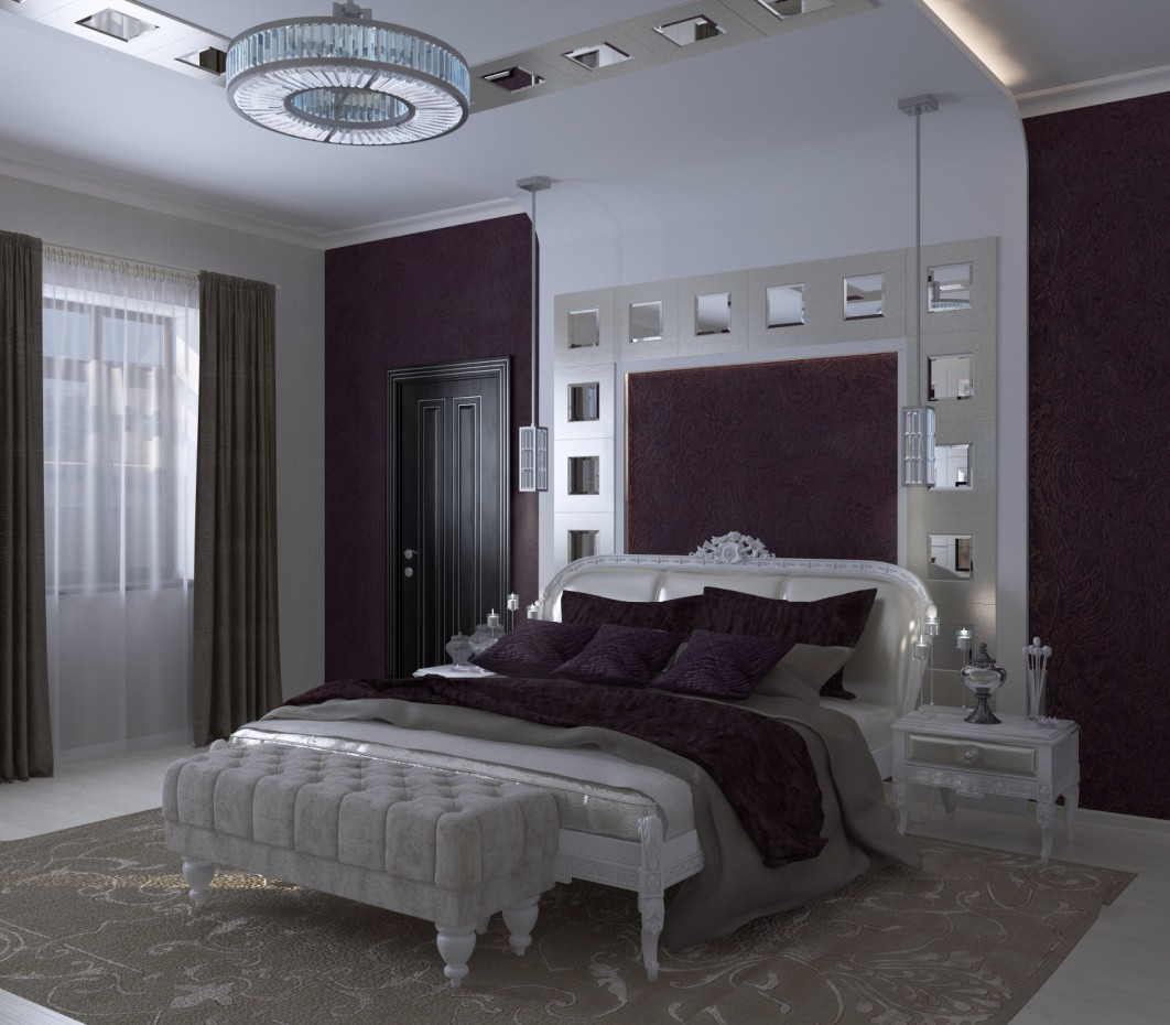 3d visualization of the project in the Bedroom Interior in the style of neoclassicism 3d max, render vray 2.5 of Сиднева Дарья