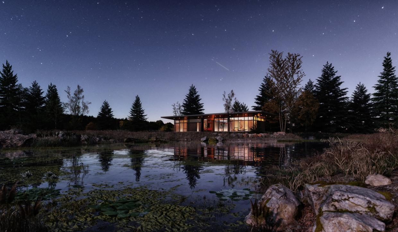 झील का घर 3d max vray 3.0 में प्रस्तुत छवि
