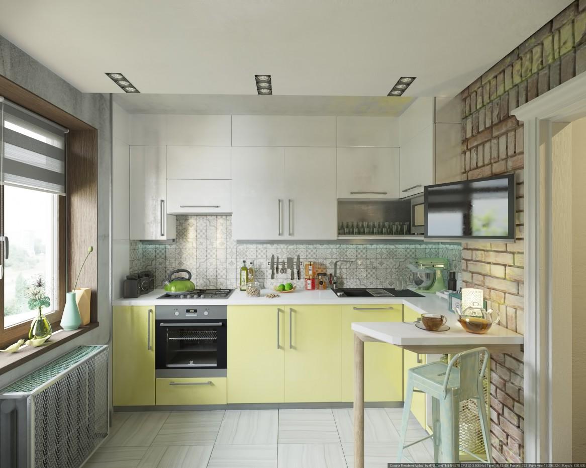 Небольшая кухня в 3d max corona render изображение