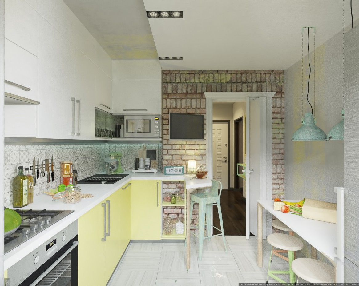Small kitchen in 3d max corona render image