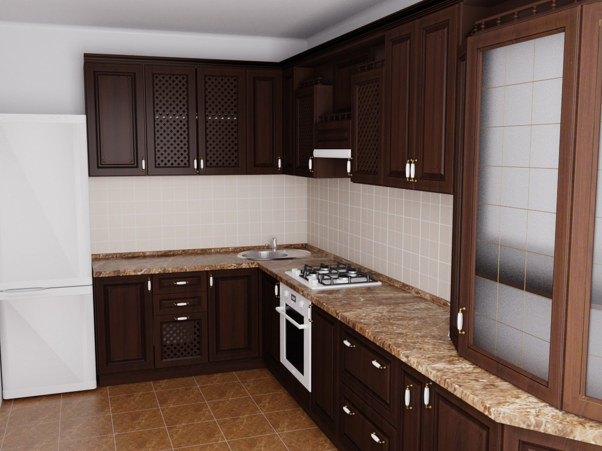 kitchen in a country house in Blender cycles render image