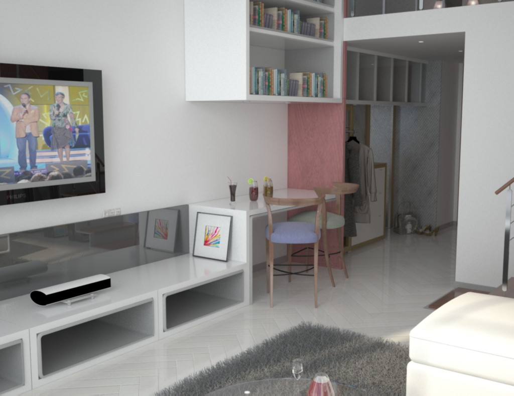 3d visualization of the project in the small apartment) 3d max, render vray of urodi