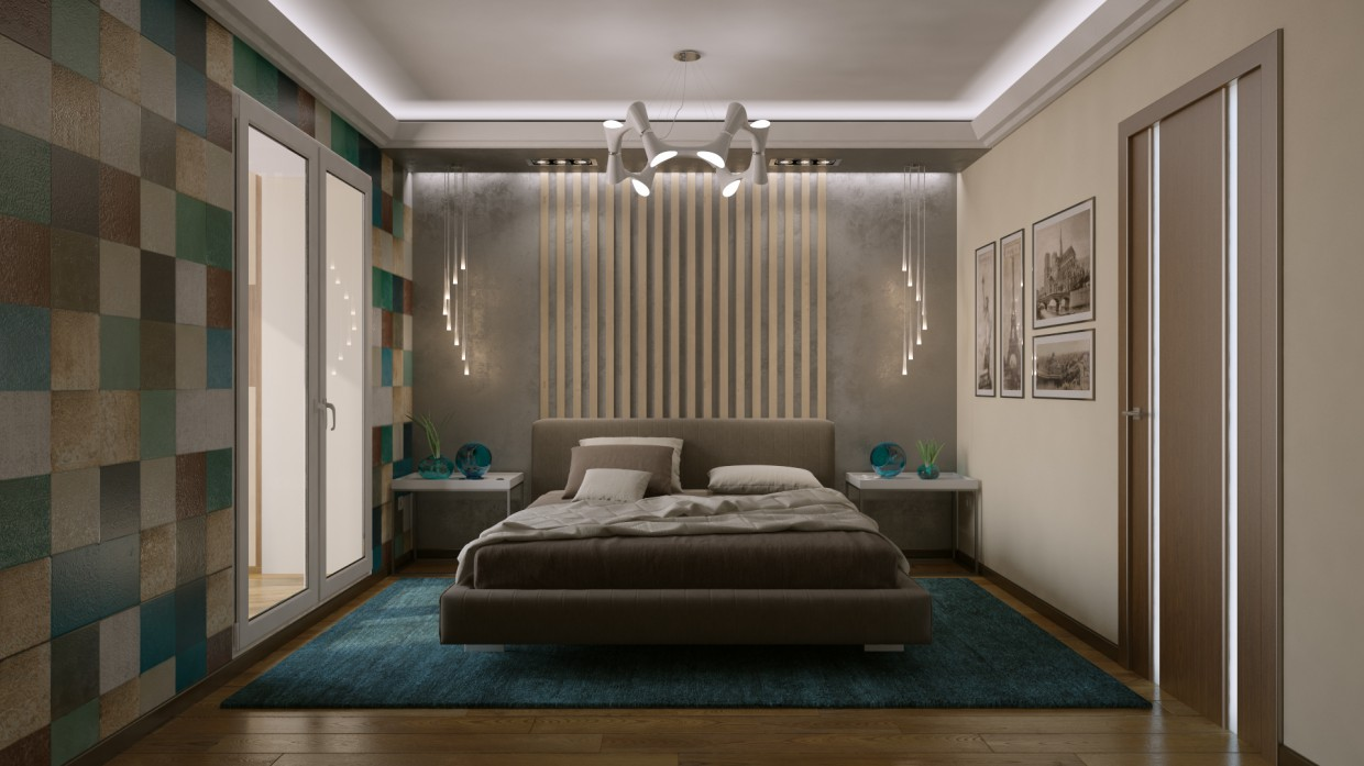 3d visualization of the project in the Bedroom 3d max, render vray of maxx_trump