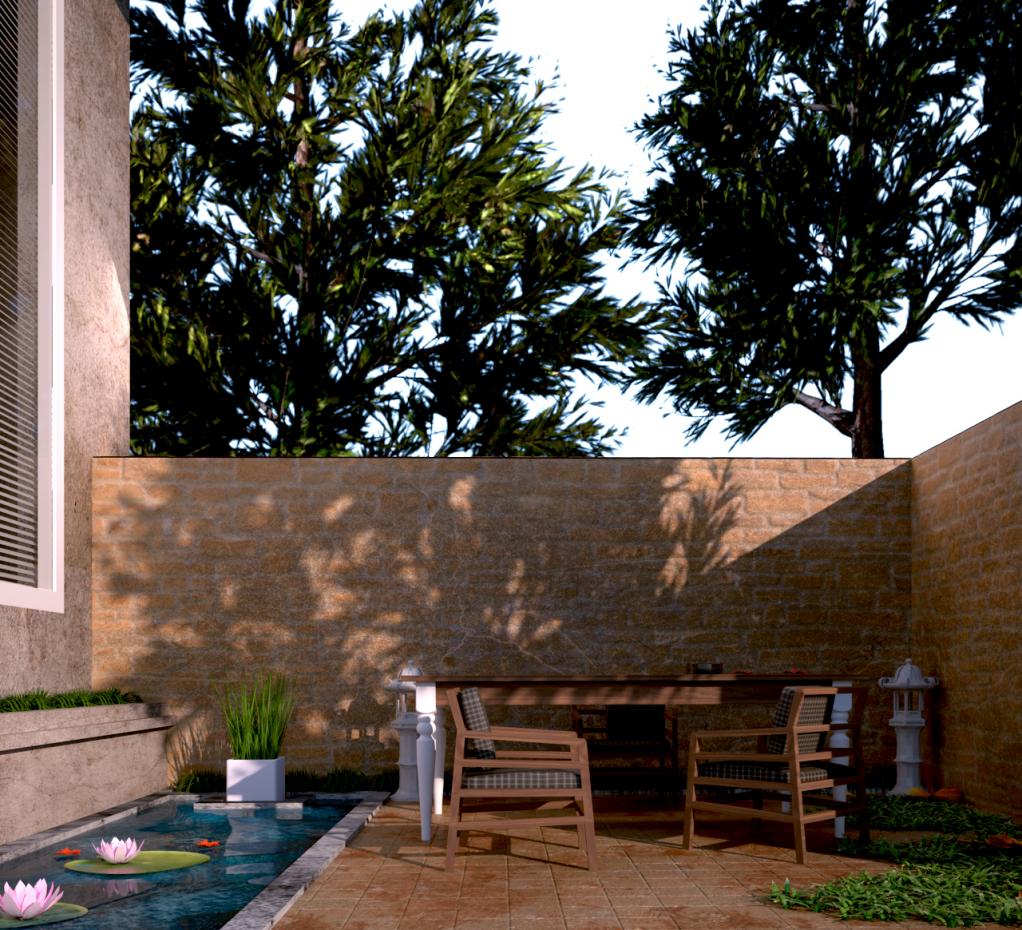 Backyard in 3d max vray 3.0 image