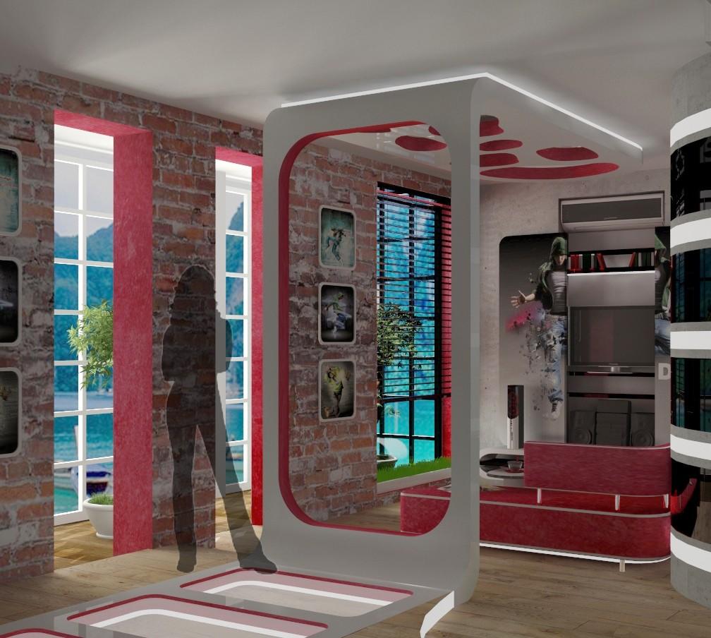 Кухня-гостинная в 3d max vray изображение