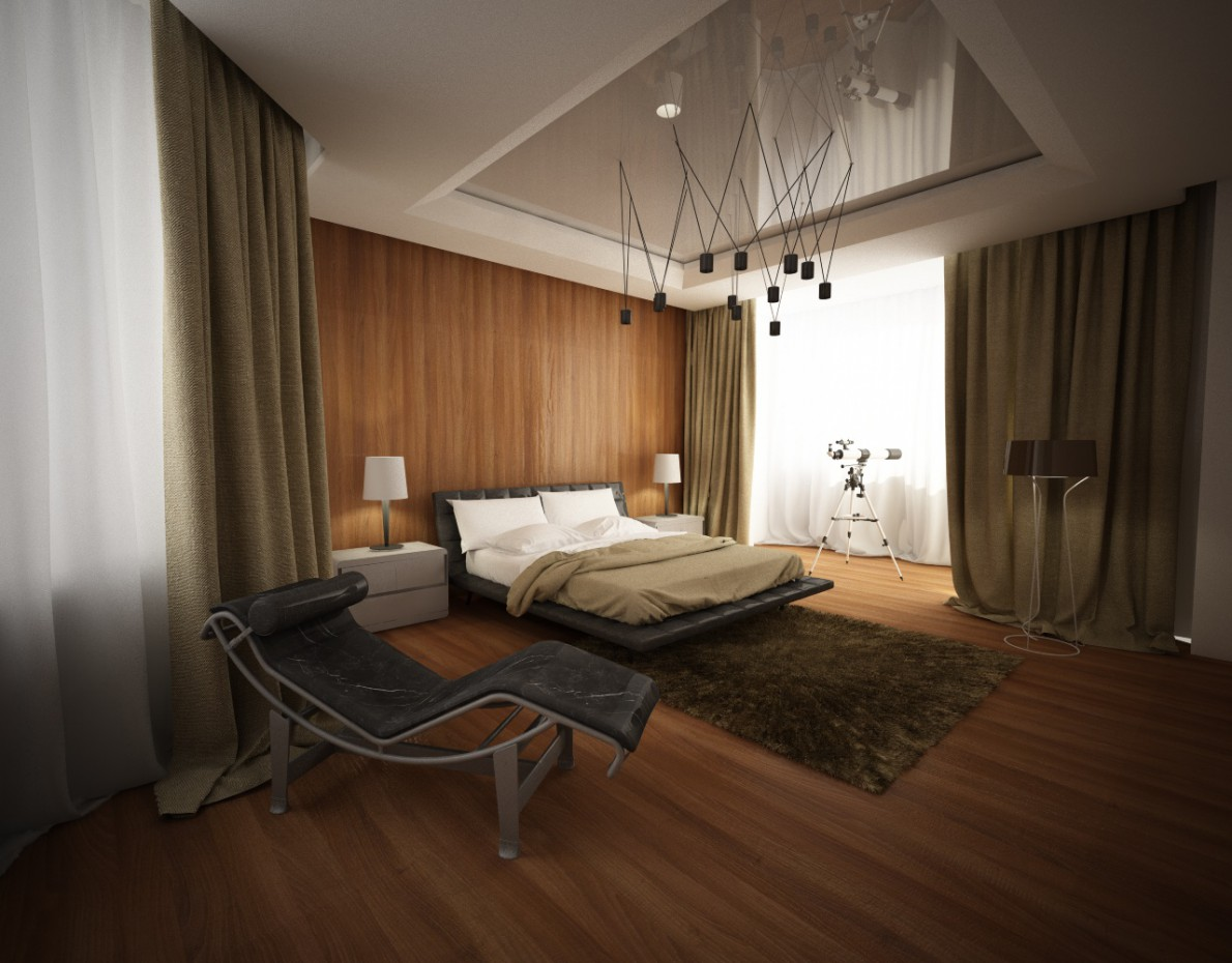 Bedroom in Cinema 4d vray image